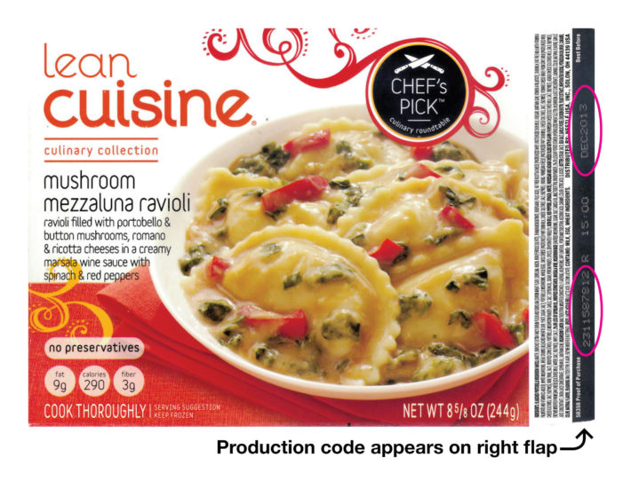 Nestle Recalls LEAN CUISINE Mushroom Mezzaluna Ravioli