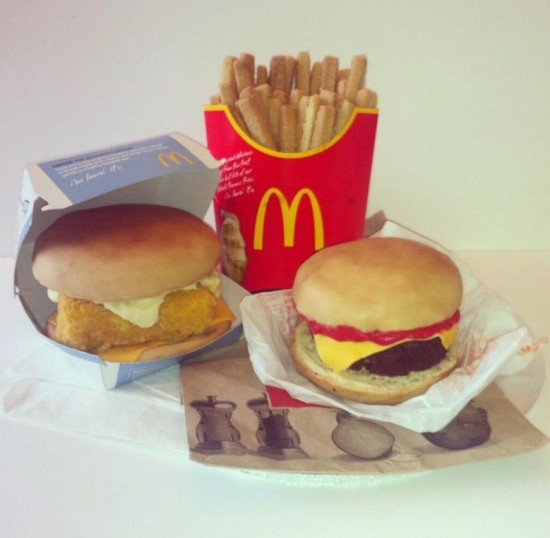 A Collection Of Cakes Shaped Like Burgers And Other Savory Foods