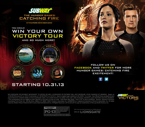 Subway Teams With The Hunger Games: Catching Fire to Launch Fiery Subs