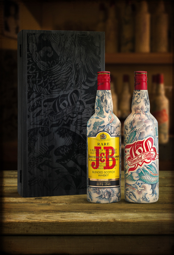 Whisky Bottles That Look Like They Are Covered In Tattooed Skin