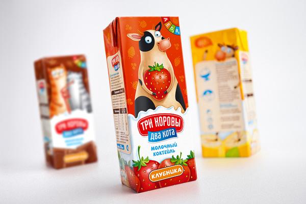 Fun, Playful Milkshake Packaging Features A Barcode Cat & A Talking Cow