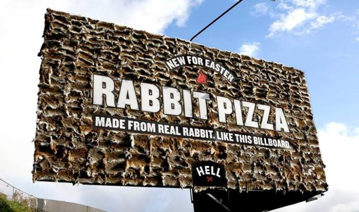 A Controversial Pizza Billboard In New Zealand, Made From Real Rabbits