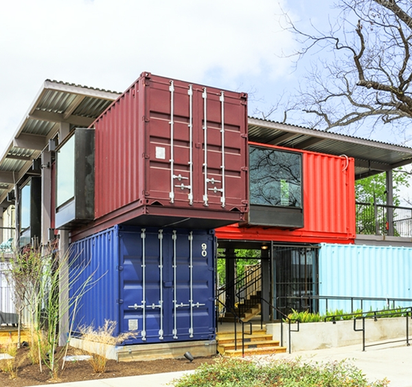A Trendy Bar Built From Shipping Containers