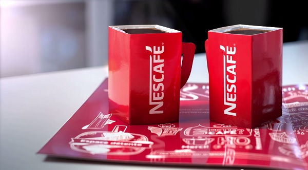 Nescafé Print Ad Contains Two Foldable Paper Mugs For Sharing Morning Coffee