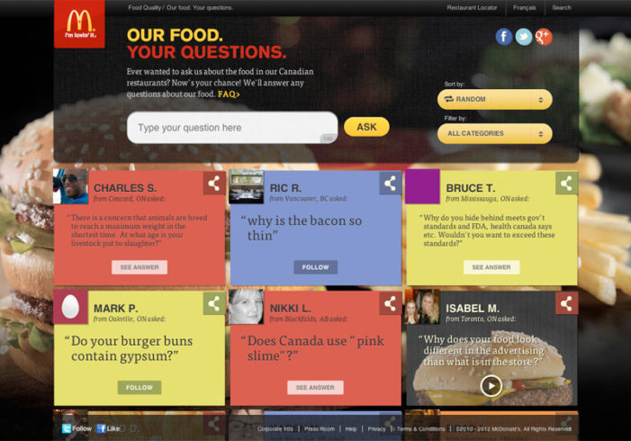 McDonald's Ask Customers What They Want to Know About Their Food