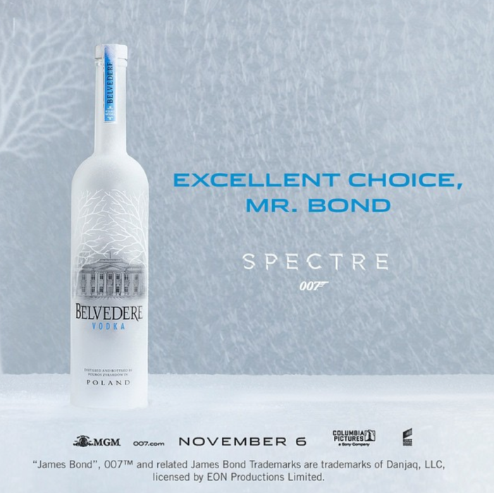 Belvedere Vodka Announces Partnership With James Bond's Film Spectre