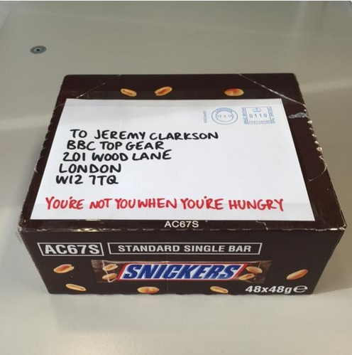 Jeremy Clarkson Consoled With Free Snickers Bars in PR Stunt