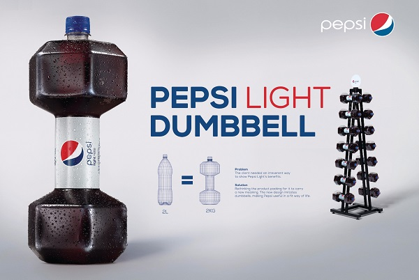 Pepsi Light Creates a New Bottle Packaging that Resembles a Dumbbell