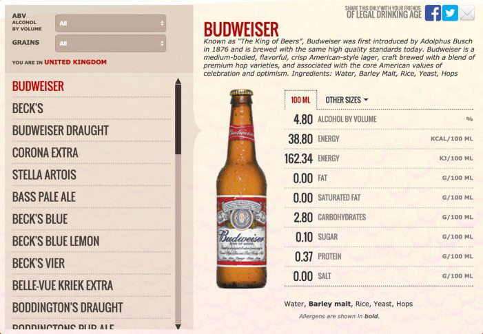 AB InBev Rolls Out Consumer Information For 'King of Beers'