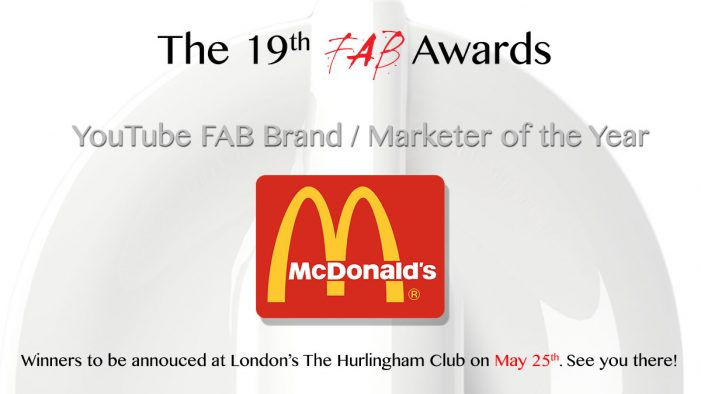 McDonald's win the YouTube FAB Brand / Marketer of The Year Award at The 19th FAB Awards