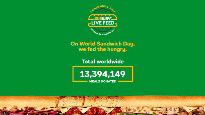 Subway Gives Away 13 million Meals to Hunger-Relief Charities via J. Walter Thompson Sydney