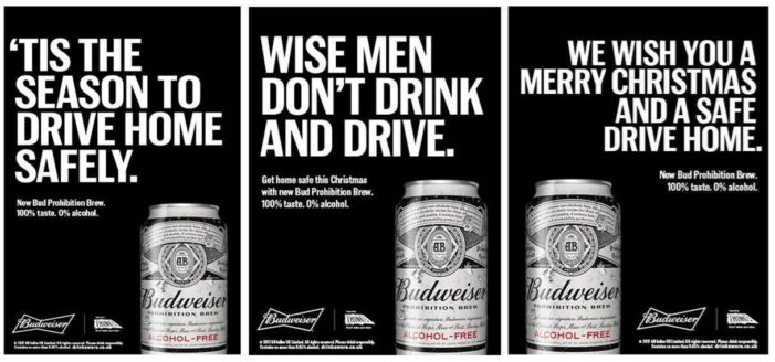 Budweiser's Alcohol-Free Beer Prohibition Stars in Anti-Drink Drive Christmas Campaign