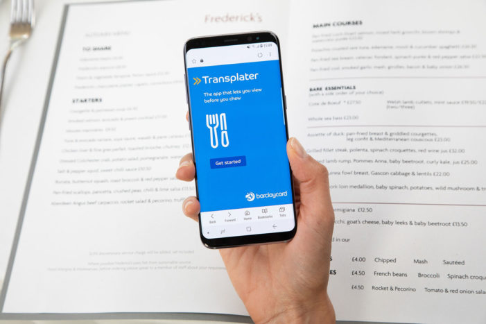 Barclaycard Trials New 'Transplater' Prototype App so Diners can 'View Before They Chew' and Avoid Menu Mishaps