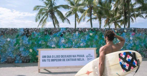 Corona Beer Blocks Ipanema Beach with Giant Wall Made of Plastic Waste