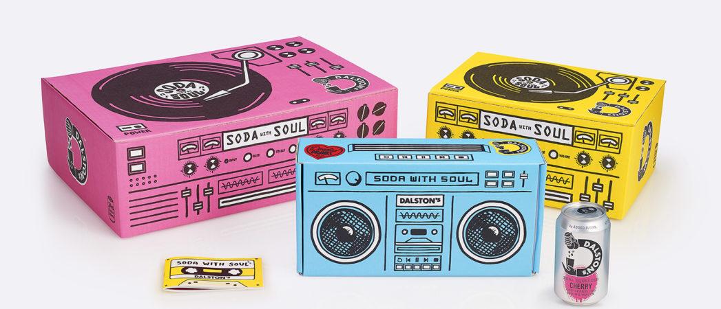 B&B studio design delivery boxes for Dalston's Soda