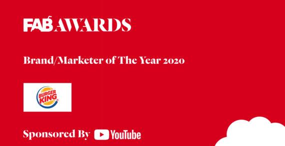 Burger King win The YouTube FAB Brand / Marketer Award at The 22nd FAB Awards