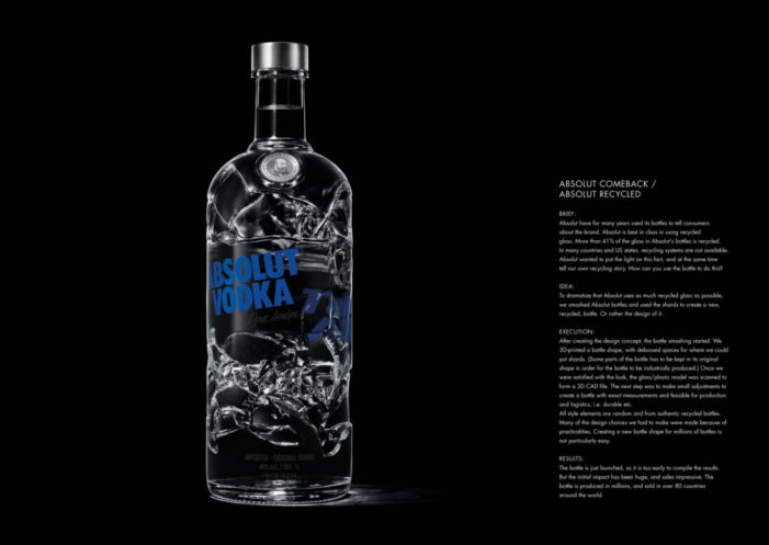 Absolut Comeback / Recycle – Sustainability wins with bold redesign.