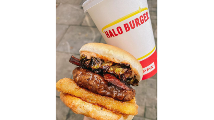 Halo Burger teams up with THIS to launch the ultimate vegan festive burger with bacon and fried sprouts!