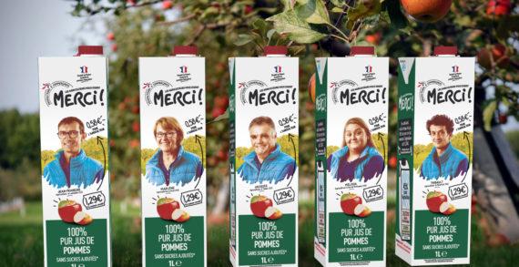 "Intermarché choses  SIGNATURE for the launch of its new fair apple juice ""Les Eleveurs Vous Disent MERCI"""